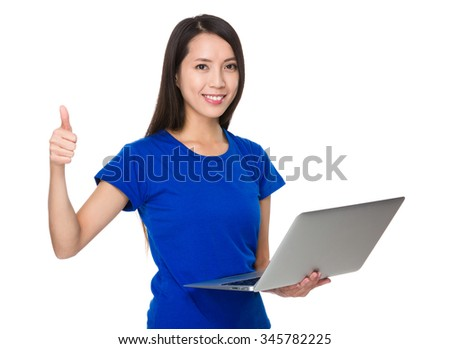 Asian Young Woman hold with laptop computer and thumb up
