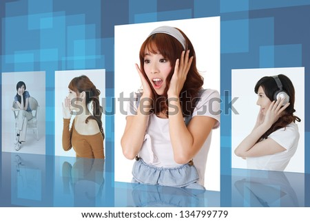 Asian young woman picture with happy, cheerful,surprised expression. Concept about tv , collection, gallery, lifestyle etc. - stock photo