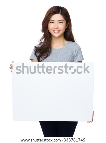 Asian Young Woman show with white banner