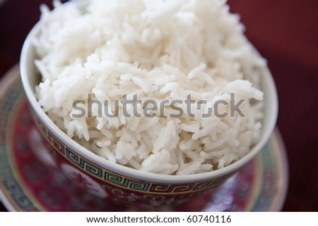asiatic bowl with rice - stock photo