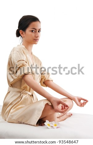 Asien woman doing yoga - stock photo