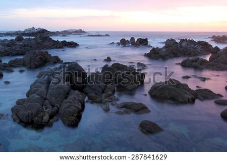 Asilomar State Beach at sunset, near Monterey and Carmel, California, USA - stock photo