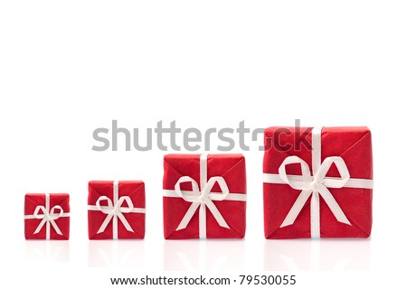 Ask  for more, four red gift boxes in a row, in different sizes,  isolated on white background with space for text (detailed large file) - stock photo
