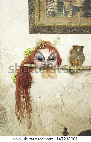ask redhead voodoo inside witch house, celebration - stock photo