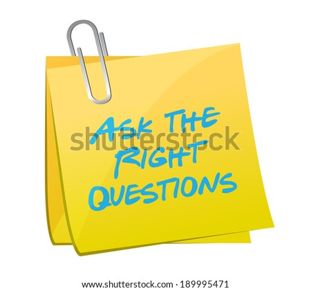 ask the right questions posts illustration design over a blue background - stock photo
