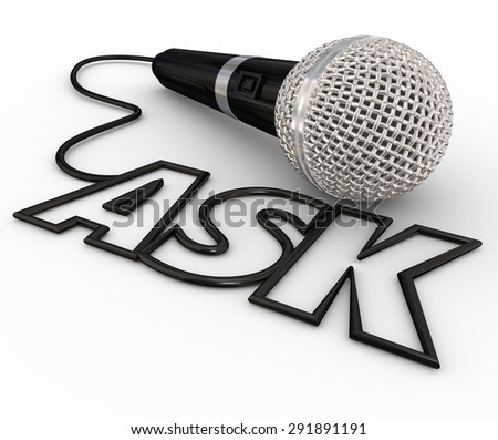 Ask word spelled out in letters formed by a microphone cord to illustrate questions and answers, interviews, reporting and a podcast or radio interview - stock photo
