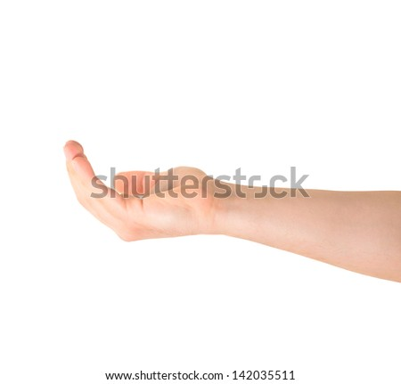Asking for alms help caucasian hand gesture isolated over white background