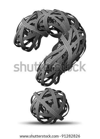 Asking for Directions going nowhere in business and life as tangled bundled roads and highways interlinked in the shape of a question mark looking for answers and a clear path. - stock photo