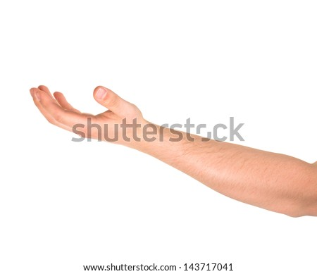 Asking for the help caucasian hand gesture isolated over white background - stock photo
