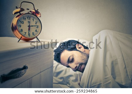 Asleep man  - stock photo