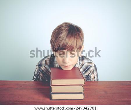 asleep school boy - stock photo