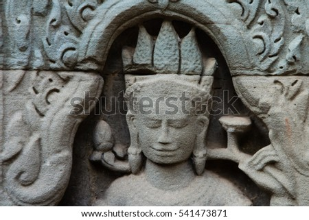 Aspara relief or carvings, a female god in Hindu and Buddhist mythology, in Angkor temple of Ta Som at Siem Reap, Cambodia