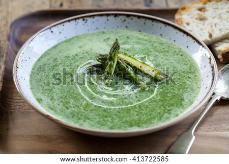 Asparagus and spinach soup  - stock photo