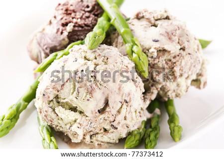 Asparagus ice cream - stock photo
