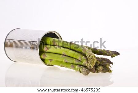 Asparagus in a tin - stock photo