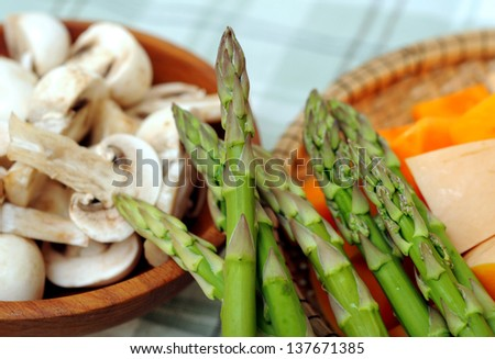asparagus, mushroom, and yellow butter squash