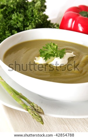 Asparagus or broccoli soup with sour cream and parsley - stock photo