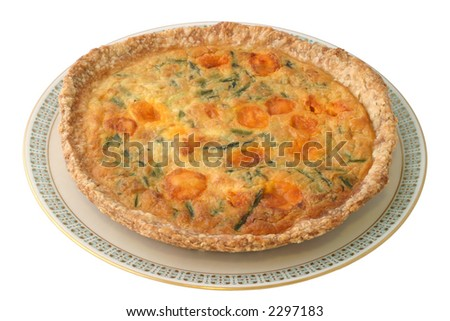 Asparagus Pie - an alternative vegetarian version on the classic Quiche recipe.  Homemade with fresh asparagus, eggs, and cheddar cheese.  Definitely a healthy, hearty and savory dish! - stock photo