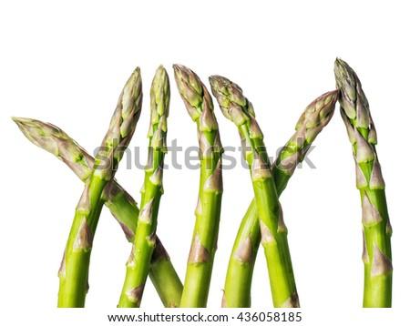 Asparagus. Raw asparagus. Fresh Asparagus. Green Asparagus isolated on white background  - stock photo