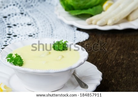Asparagus soup is prepared  - stock photo