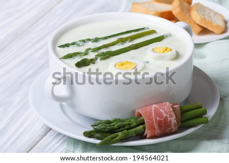 Asparagus soup with eggs in white bowl  and crunches. horizontal  - stock photo