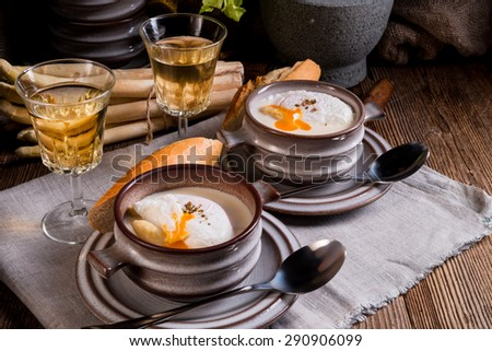 Asparagus Soup with poached egg - stock photo