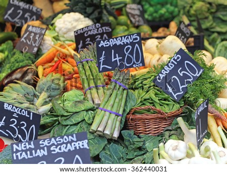 Asparagus Vegetables at Farmers Market Stall - stock photo