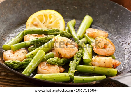 asparagus with shirmps