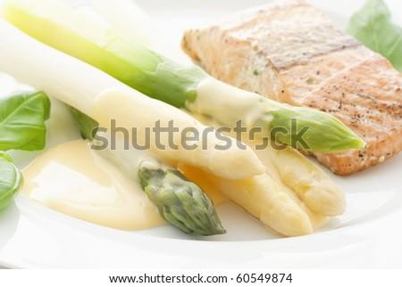 Asparagus with Wild Salmon - stock photo