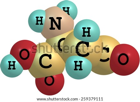 Aspartic acid (Asp) is an amino acid, isolated on white - stock photo