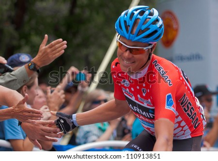 ASPEN, CO - AUG 23: Tom Danielson greeting the fans at the US Pro Cycling Challenge in Aspen, CO on Aug 23, 2012
