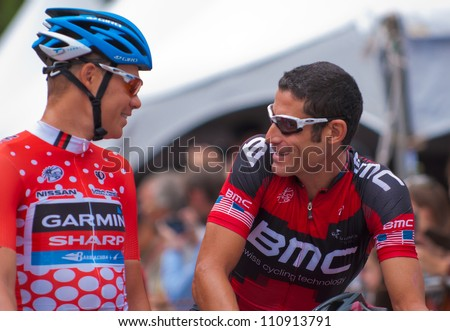 ASPEN, CO - AUG 23: Tom Danielson (left) pre-race talks with George Hincapie at the US Pro Cycling Challenge in Aspen, CO on Aug 23, 2012