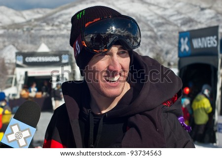 ASPEN, CO - JAN. 26: Tom Wallisch Pittsburgh, PA interviewed at XGames after his record setting gold medal performance in the Slopestyle competition at Buttermilk ski area Aspen, CO Jan 26, 2012 - stock photo