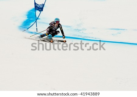 ASPEN, CO - NOV. 28: US Ski Team member Julia Mancuso in action at the FIS World Cup GS WinterNational race in Aspen, CO on Nov. 28, 2009. - stock photo