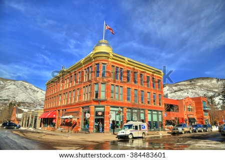 ASPEN, COLORADO, FEB 8, HDR image of the Elks building. The Elks Building in downtown Aspen was built in 1891 during the Silver Boom. Aspen, Co, Feb 8, 2016 - stock photo