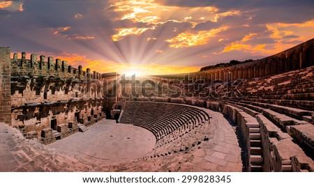 Aspendos amphitheater, Antalya Turkey - stock photo