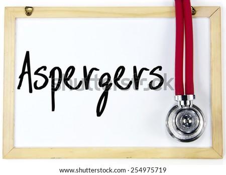 aspergers word write on blackboard - stock photo