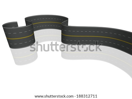 asphalt curved road isolated on white background