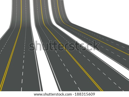 asphalt curved road isolated on white background - stock photo