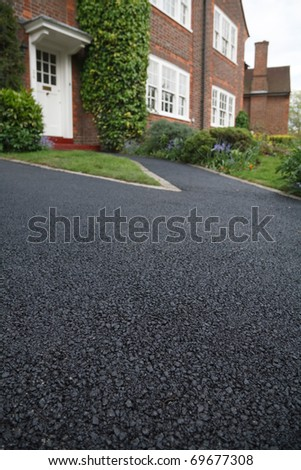 Asphalt drive - stock photo