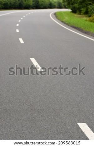 Asphalt empty road - turn - stock photo