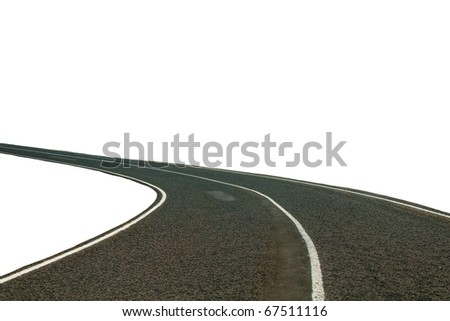 asphalt highway cutout over white background