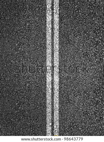 Asphalt highway texture with two white stripes - stock photo