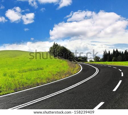Asphalt Road - stock photo