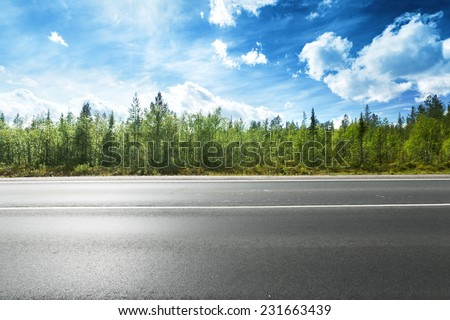 asphalt road and forest - stock photo