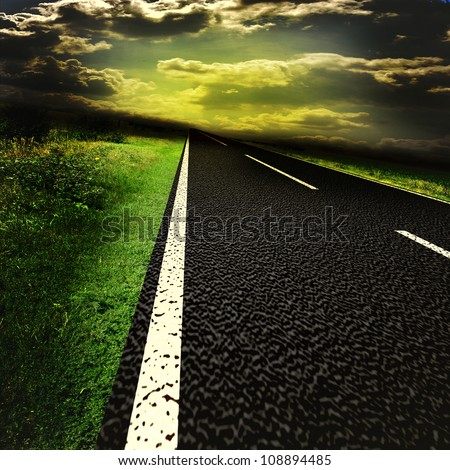 Asphalt road and red bloody blurred sky with sun - stock photo