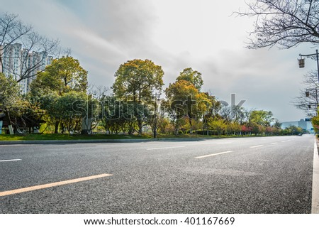 asphalt road and tree