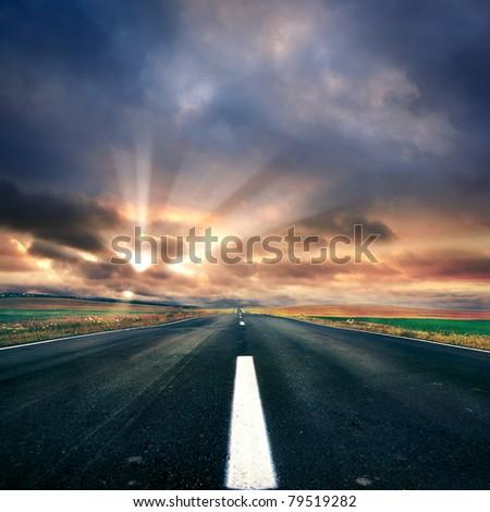 asphalt road  at summer time - stock photo