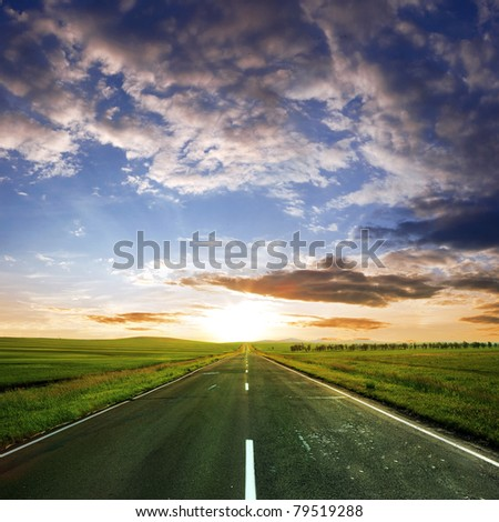 asphalt road  at summer time - stock photo