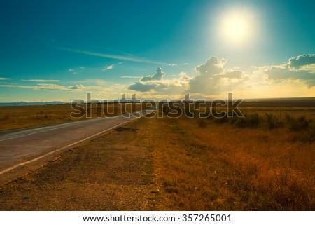 Asphalt road between fields toward the sun - stock photo